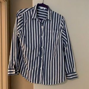 Gap, navy and white stripped button up shirt.